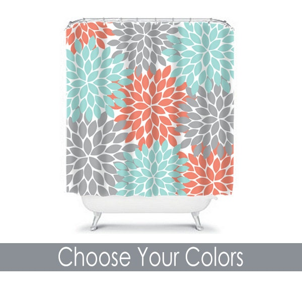 Turquoise And Coral Shower Curtain.  zoom Flower SHOWER CURTAIN Coral Aqua Gray Bathroom Decor Floral