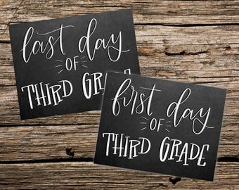 First and Last day of Third Grade printable photo sign Chalkboard style - Instant Download
