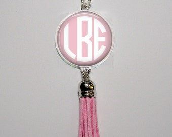 Monogram Pendant Necklace with Tassel - 13 Color Choices - Customized Initials - Personalized Choice of Monogram