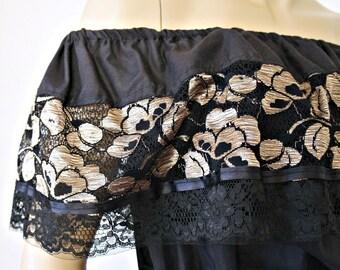 Vintage Lace Dress Black Cotton Gold Lace Mexican Square Dance Off Shoulder Size Small Size Medium