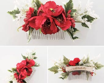 Red Dianthus Flower Comb