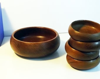 Wood Salad Bowls - Set of Vintage Wooden Rustic Teak - Made in Thailand - Large Serving and 4 Small Bowls - Kitchen / Serving / Home Decor