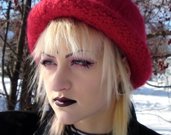 Bowler - Red Rolled Brim Felted Hat