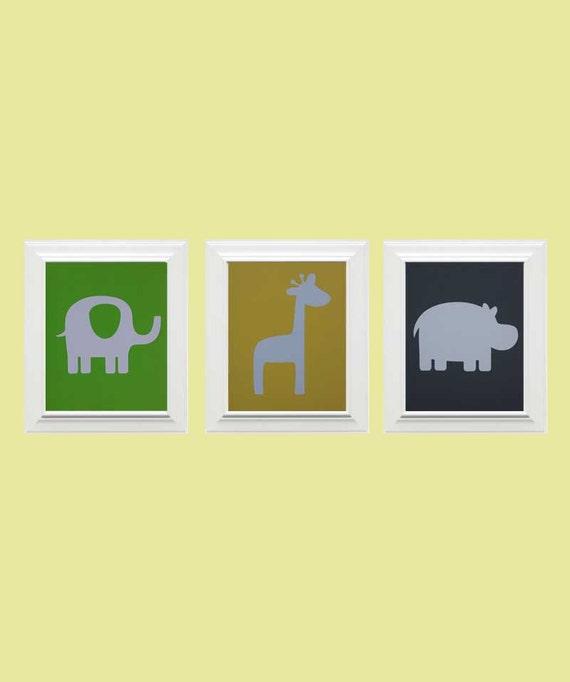 Set of 3-Custom Safari Picture, Elephant, Giraffe, Hippo, Children's Wall Art, Nursery Art, Animal Art -Lime Green, Light Yellow, Lime Green