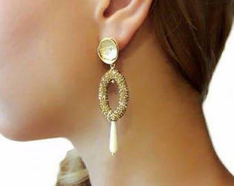 Wedding jewelry, bridesmaid earrings, bridesmaid gift, flower earrings, bridal jewelry, crystal earrings, gold earrings jewelry gift for her