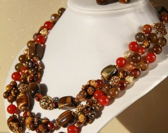 Tiger Eye Carnelian Necklace Agate Statement Necklace Multi Layered Handmade Beaded Necklace Gemstone Necklace Summer Necklace Birthday Gift