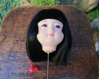 Japanese Vintage Mid Large Ichimatsu Gofun Girl Used Spare Replacement Doll Head Marble Eyes
