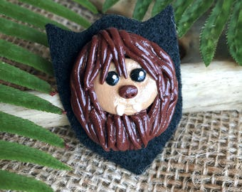 Sasquatch Mounted Trophy Head Polymer Clay Brooch