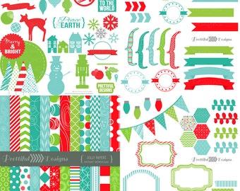 Christmas Clip Art, Christmas Digital Scrapbook Kit, Digital Paper, Christmas Clip Art