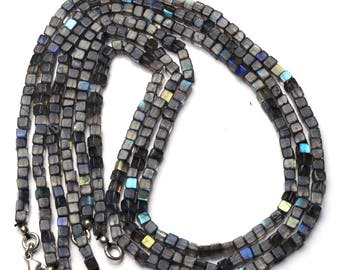 Natural Gemstone Smooth Flashing Blue Fire Labradorite 4MM Smooth 3D Cube Beads 17 Inch Full Strand Blue Flash Finished Necklace