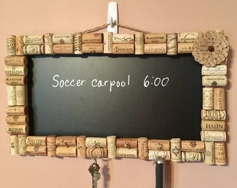 Wine cork chalkboard with key holder