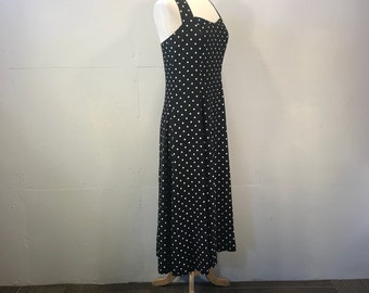 summer polka a dot dress 80s My Michelle black dress lightweight  full skirt party dress
