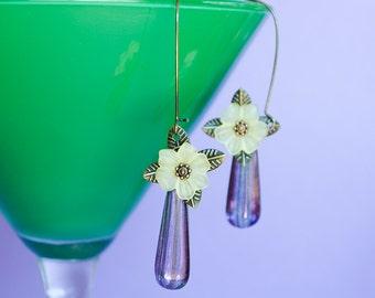 Daisy Floral Earrings Dangle Earrings Purple Teardrop Spring Earrings Yellow Flowers Jewelry Vintage Style Jewelry Gifts for Her