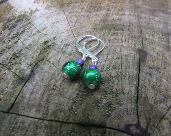 Green earrings , Silver earrings , Leverback earrings ,  Dangle earrings , Silver plated earrings  , Beaded earrings , Gifts for her