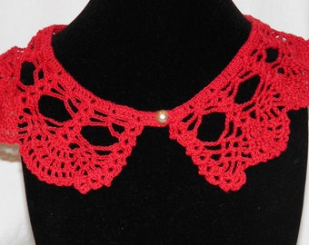 Vintage Red Hand Crocheted Two in One Collar