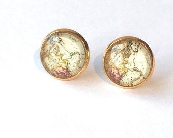 Map earrings world map stud earrings map button earrings gold post earrings antique map gold stud earrings map studs travel stud earrings