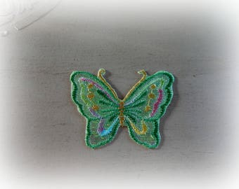 1 patch fusible patch / applique Butterfly in shades of green yellow 6.8 * 5 cm