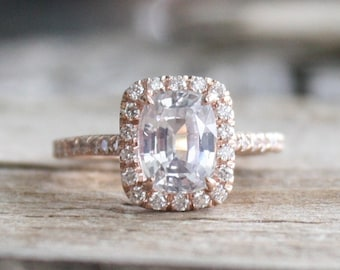 Cushion White Sapphire Diamond Halo Ring in 14K Rose Gold