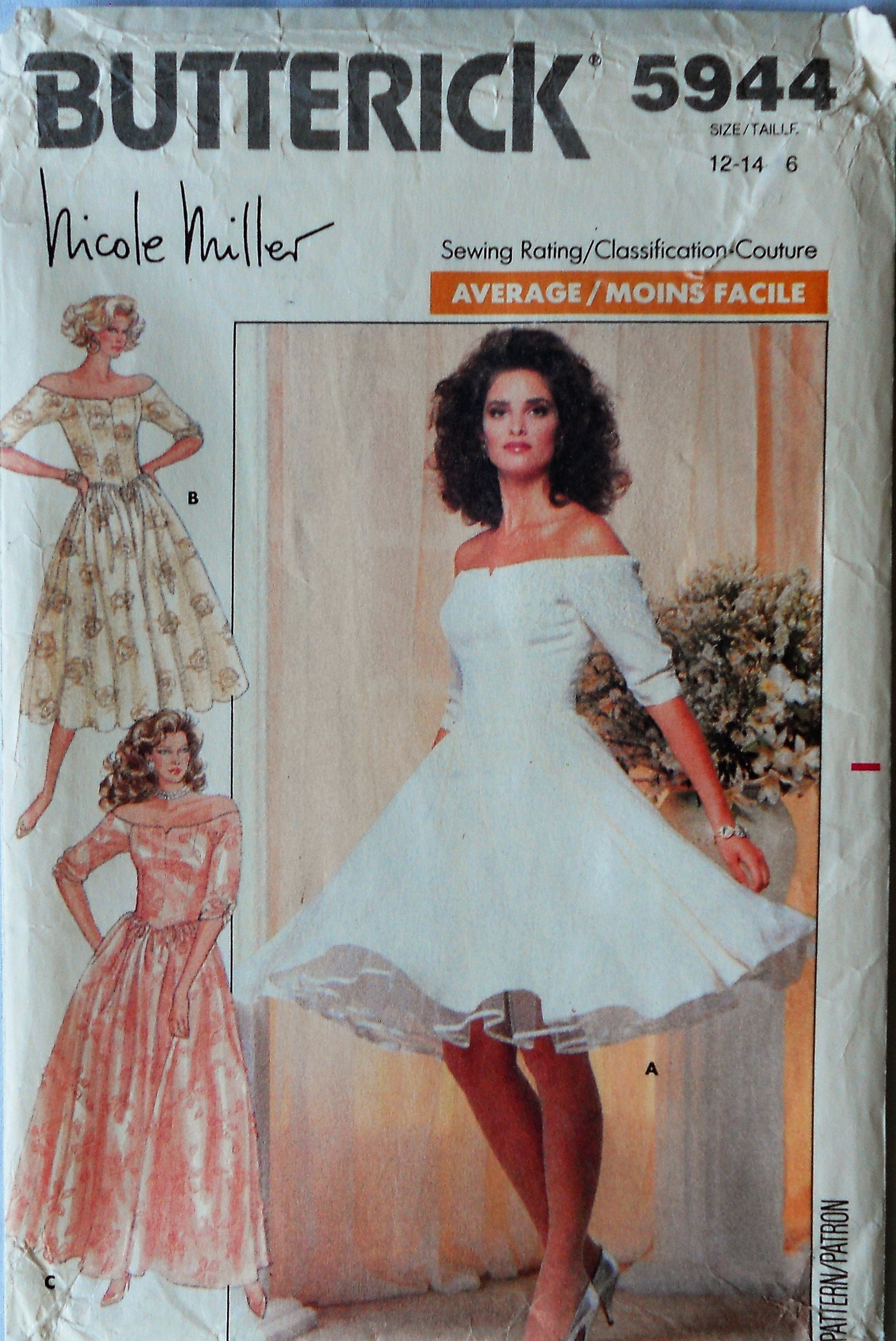 Butterick 5944. VTG 1987 Nicole Miller dress pattern. Bridesmaid ...