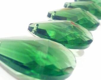 5 Dark Green Teardrop Chandelier Crystal 38mm Prisms