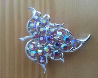 On Sale! Vintage Sarah Coventry iridescent Aurora Borealis Crystal Leaf Brooch