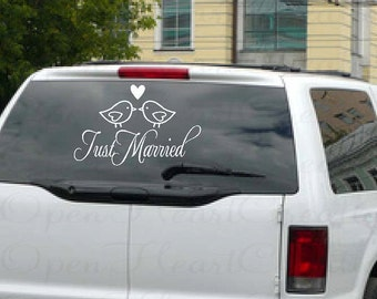 Just Married Wedding Getaway Car Window - Wedding Decoration Vinyl Wall Decal Removable Lettering Sticker Transfer 14h x 22w WD0020