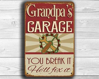 GRANDPAS GARAGE SIGN, Grandpas Garage Signs, Vintage style Grandpas Garage Sign, Grandpas Garage , Grandpa Gift, Gift for Grandpa, Grandpa