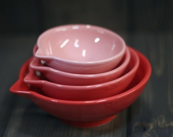 Measuring Cups, Red / Pink Ombré - dark to light - ready to ship - hand painted