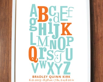 Alphabet print with initials, CUSTOM, LARGE