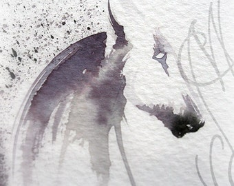 "Martinefa's Original watercolor and Ink, presented in hand personalised frame - Horse ""Cheval-1"""