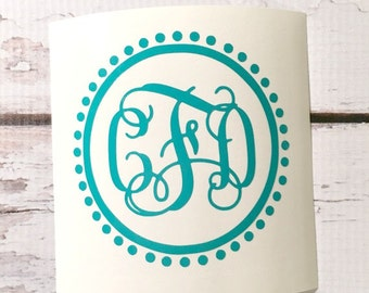 Vinyl Monogram Decal Car Decal Notebook Decal Preppy Decal Interlocking Letters Vine Font Monogram Sticker Notebook Laptop Decal