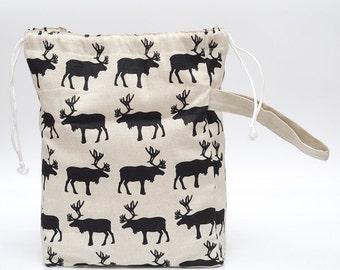 Work In Progress Bag KIP Bag Large Knitter Project Bag. Drawstring bag. Nomadic ELK Sock Knitting Case Special KnitterBag design...