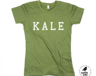 Kale Tshirt - Kale Top - Moss -Organic Cotton - Womens - Health Food - Made in USA - XS, Small, Medium, Large, XL, 2X, 3XL (4 color options)