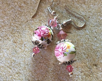 Lampwork Earrings, Flower Earrings, Floral Earrings, Glass Earrings, Gifts for Her, Lampwork, Glass, Earrings, Dangle Earrings