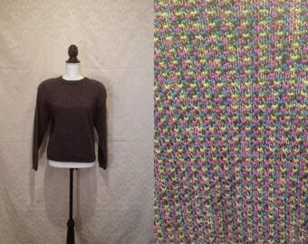 1980s Confetti Geometric Purple Grid Dotted Zip Shoulder Sweater Fuzzy Warm Winter Fall M