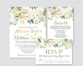 Printable OR Printed Wedding Invitation Suite - Gold and White Floral Wedding Invitation Package - Gold & Cream Flower Wedding Invites 0013