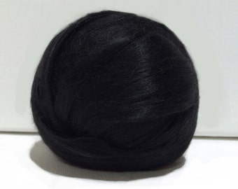 Black Bamboo roving, Needle Felting Spinning Fiber, midnight, deep black, true black