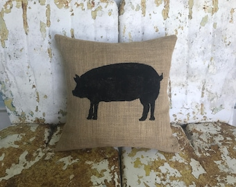 Painted Burlap PIG Decorative Throw Pillow Square Farmhouse Chic Animal Decor Farm Rustic Decor