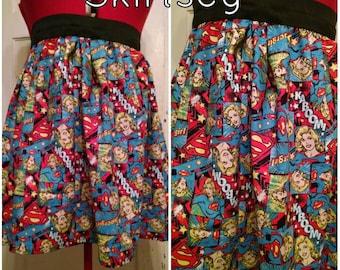 Pin Up Rockabilly Supergirl high waisted skirt