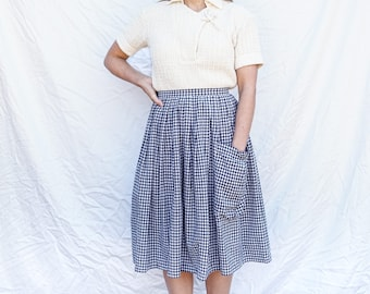 1960s Black & White Gingham Pocket Skirt, High Waisted Gingham Skirt, Vintage Gingham One Pocket Skirt, Sz 24 High Waisted Gingham Skirt