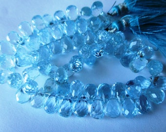 Sky blue topaz  faceted terdrop briolette- 5x8mm- 3 Pairs