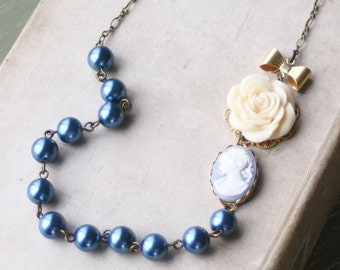 Cameo Choker Necklace, Blue Cameo and Pearl Strand Necklace, Weddings