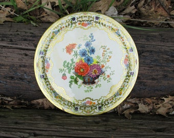 Daher Decorated Ware Floral Metal Serving Tray Decorative Vintage Distressed Made in England