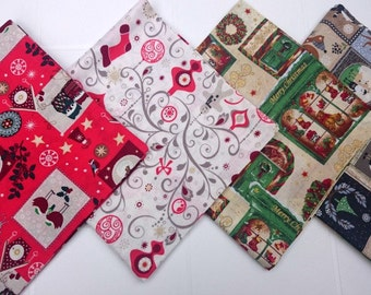 Christmas, napkins, red, white, blue, green, Brown, Christmas print, printed, set of 4 napkins, set of 4, multicolor