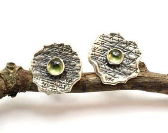 peridot sterling silver stud earrings- textured peridot post earrings - organic earrings - small green earrings August birthstone