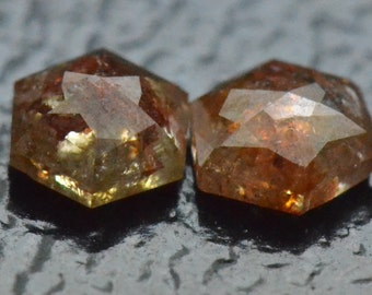 0.37ct 3.6mm pair Hexagon diamonds bronze cayenne brownish red color also called Antwerp Rose cut