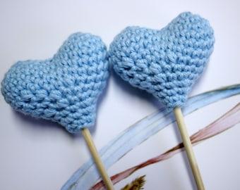 Two Mini Heart Crochet- cake topper