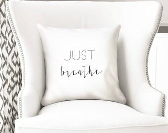 Just breathe throw pillow cover, yoga cushion, meditation room decor
