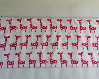 Children Nursery Window Valance/Topper/Straight/Curved-LINED-Giraffe Valance , Gisella, Stretch, Baby Pink Blue White, Premier Prints-53x17""