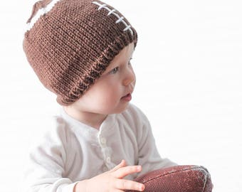 Football Hat KNITTING PATTERN / Knit Football Hat / Baby Football Gift / Adult Football Hat / Football Baby Outfit / Football Season Gift